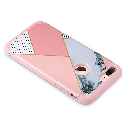 iPhone 7 Plus Hülle, ULAK Slim Hybrid iPhone 7 Plus hülle Hochleistungsschutz Shockproof PC TPU Skin Cover für iPhone 7 Plus 5,5 Zoll - Schwarz + Rot Roségold + Rosa