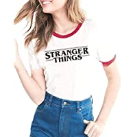 WSPLYSPJY Womens Crew Neck Letter Print Short Sleeve Stranger Things Print T-Shirt 1 S