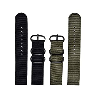 Lvcky 2 Pieces Replacement Nylon Watchbands Watch Straps, Army Green and Black