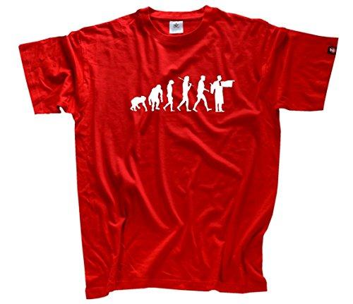Shirtzshop Herren Anwalt Notar Richter Gericht Robe Evolution T-Shirt Rot, XL
