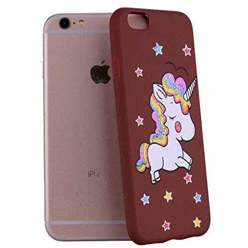 Per iPhone 6 / iPhone 6S Cover , YIGA nero unicorno Silicone Morbido TPU Case Shell Caso Protezione Custodia per Apple iPhone 6 / iPhone 6S (4.7) brown