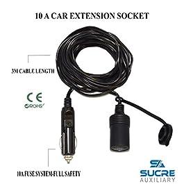 Sucre Auxiliary® – Cavo di prolunga da 3 m per presa accendisigari, alimentazione a 12-24 V, 10 A, per moto e auto.