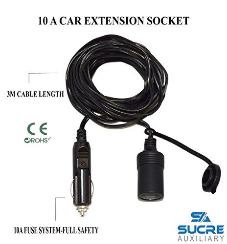 12–24V 10A Alimentación de servicio pesado motocicleta encendedor de cigarrillos del coche Socket Plug Extensión Cable de 3M