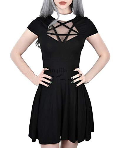 Enfei Halloweens Frauen Pentagram Mesh Kleid Gothic Vintage Romantische Casual Kurzarm Kleid für Frauen