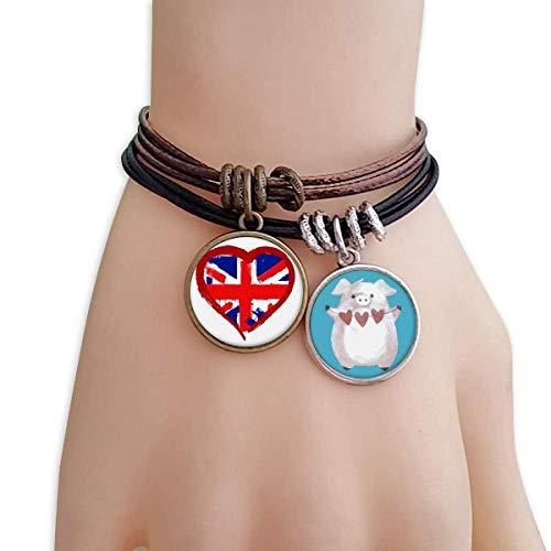 GZD Love Heart UK England Landmark Bracelet Rope Wristband Pig Heart Love Set