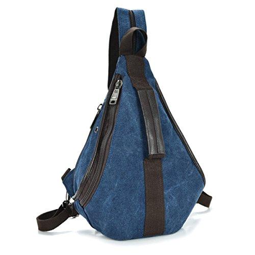 BULAGE Tasche Männer Und Frauen Brusttaschen Leinwand Schultern Im Freien Messenger Klein Retro Dreieck Freizeit Wandern Reisen Blue