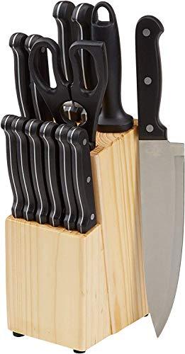 AmazonBasics - Set di 14 coltelli con ceppo