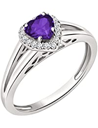 Silvernshine 7mm Heart Cut Amethyst & Sim Diamond Halo Engagement Ring In 14K White Gold Plated