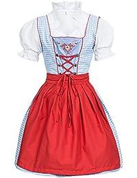 Dirndl 3 tlg.Trachtenkleid Kleid, Bluse, Schürze, Gr. 34-46 hellblau/weiss kariert