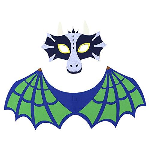 Kostüm Dinosaurier Grüne - BESTOYARD Halloween Dinosaurier Maske Flügel Set grün Party Performance Cosplay Filz Kostüm