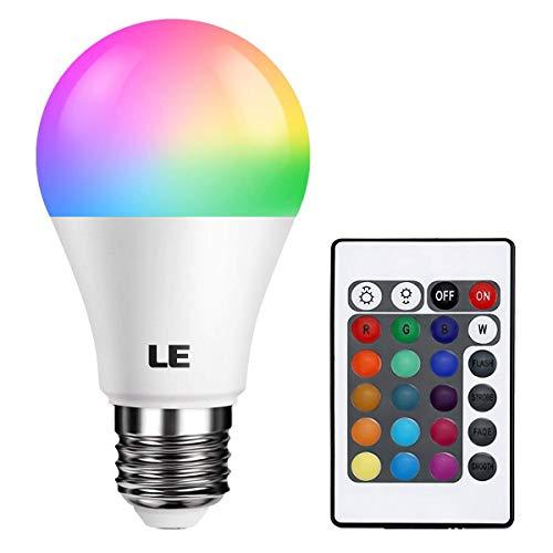LE RGBW E27 LED Lampe, 6W dimmbar Birne mit Fernbedienung, RGB + Warmweiß 2700 Kelvin Farbwechsel LED Leuchtmittel (1 Pack)