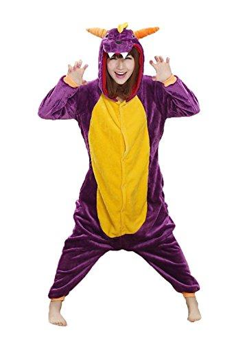 tliche Anzug Flanell Pyjamas Trickfilm Jumpsuit Tier Cartoon Fasching Halloween Kostüm Sleepsuit Party Cosplay Pyjama Schlafanzug Violett Drache Large ()