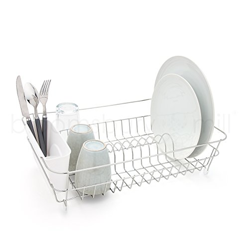 Bloomsbury Mill - Durable Wire Dish Drainer - Plate Drying Rack with White Cutlery Holder Basket - Anti-Rust - Chrome