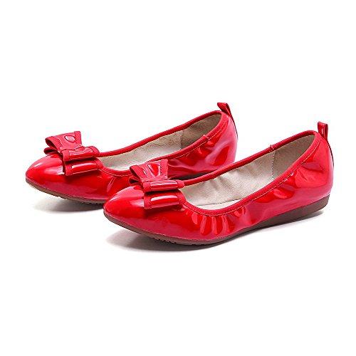 VogueZone009 Damen Ziehen auf PU Leder Rund Zehe Ohne Absatz Eingelegt Flache Schuhe, Rot, 38