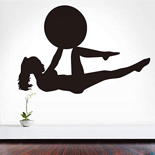 bare Art PVC Mädchen Mit Einem Ball Pilates Fitness Wandtattoo Yoga Sport Übung Gym Wandhaupt Room Decor 59 * 39 cm ()