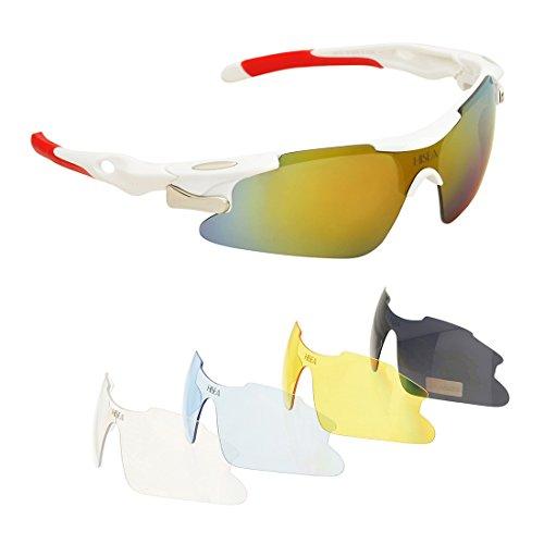 Hisea Polarized Unisex Sport Sportbrille Sportstyle Sonnenbrillen mit unzerbrechlichem Rahmen mit 5 austauschbaren Linsen für Männer Frauen Golf Baseball Volleyball Angeln Radfahren Fahren Laufen