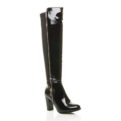 bottes cheval bloc Femmes noir talon Verni Ajvani dor élastique zip cuissardes pointure haut f4HMqw0