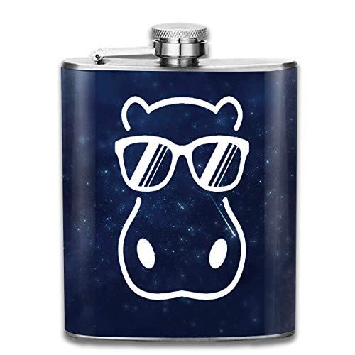dfegyfr Hippopotamus mit Sonnenbrille Flachmann-Taschenflasche aus Edelstahl, 7 Unzen