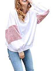 Women 's Loose Long Bell Patchwork Bat Chaqueta Top Sudaderas Manga Farol