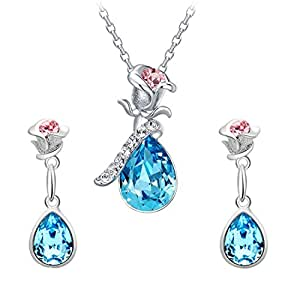 Yellow Chimes Crystals from Swarovski Rose Jewellery set for Women (Blue) (YCSWPS-FLOWR04-BL)