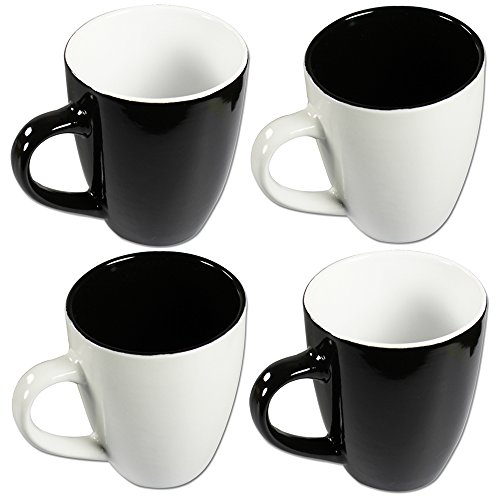 com four 4 x kaffeebecher black white 325 ml porzellan kaffeetasse kaffeepott schwarz. Black Bedroom Furniture Sets. Home Design Ideas