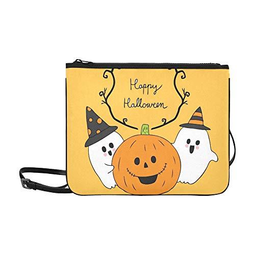 (AGIRL Karikatur-nette Halloween-Geist-Kürbis-Gewohnheits-hochwertige Nylon-dünne Handtasche Umhängetasche Umhängetasche)