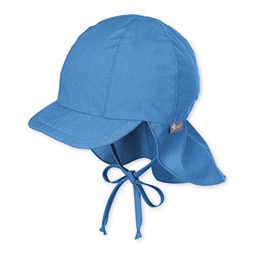 Sterntaler Schirmmütze mit Bindebändern und Nackenschutz, Alter: 5-6 Monate, Größe: 43, Blau (Samtblau)