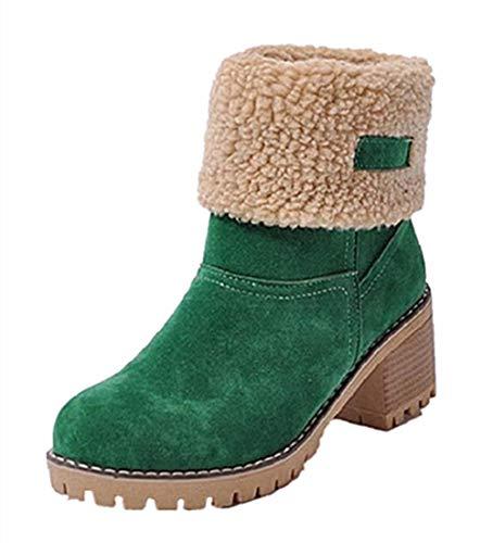 Damen Winterschuhe Schneestiefel Plateau Shorts Stiefel Chunky Heels Boots Stiefeletten Fell Bequeme Gefüttert Mode Schuhe 6 cm Green 35