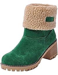 Botas Mujer Invierno Tacon Forrado Calentar Botas Altas Botines Moda Casual Outdoor Zapatos de Nieve Snow…