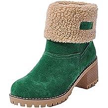 Botas Mujer Invierno Tacon Forrado Calentar Botas Altas Botines Moda Casual Outdoor Zapatos de Nieve Snow