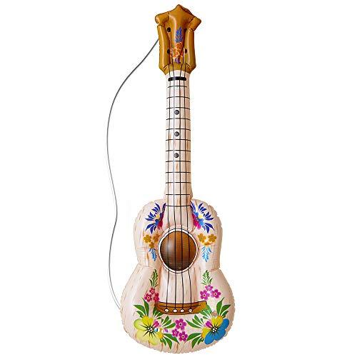 Inflable Hula Guitarra 105cm inflable Accesorio para Tropical Beach & hawaianas de disfraces Disfraces Up & Trajes 6