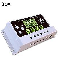 Ksruee Regulador de Carga Solar Inteligente Regulador Pantalla LCD 2A Salida USB para batería de Litio y Plomo 12V 24V 10A 20A 30A DC