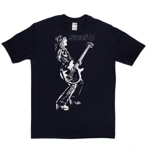 Suzi Quatro British Based American Singer Bassist Rock T-shirt Marineblau