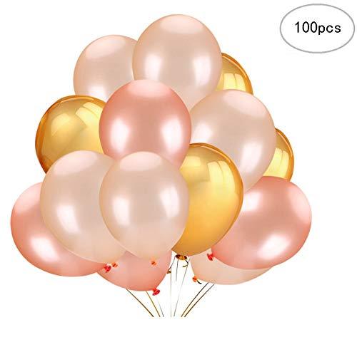 (Wenosda 100 stücke Latex Ballon 12 Zoll Gold & Rose Gold & Champagner Ballons für Hochzeit Geburtstag Party Engagement Baby Dusche Dekorative)