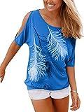 Issza Damen Sommer T-Shirt Kurzarm Feder Schulterfrei Bluse Casual Tops Lose T-Shirt, Farbe Blau Size XL