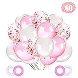 LAKIND 60 Stück Luftballons Rosa Weiß Helium ,Rosa Konfetti Luftballons,12 Zoll Ballons für Hochzeit Valentinstag Geburstags Babyparty Deko, Mädchen Taufe Kommunion