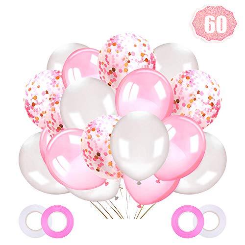 tballons Rosa Weiß Helium ,Rosa Konfetti Luftballons,12 Zoll Ballons für Hochzeit Valentinstag Geburstags Babyparty Deko, Mädchen Taufe Kommunion ()