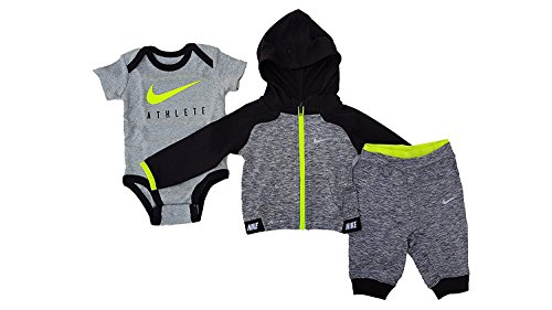 Nike Infant Baby Boy 3 Piece Bodysuit, Hoodie and Pants Deluxe Set (0-6 Months, Wolf Grey/Anthracite/Volt/Black)