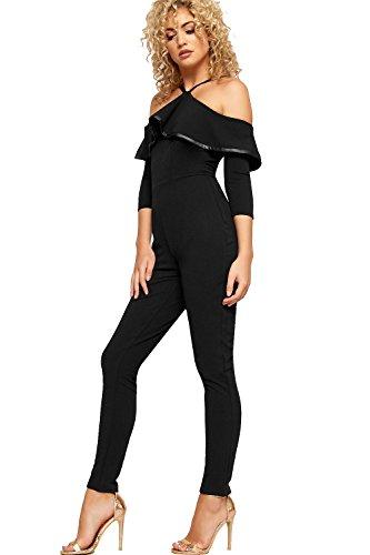 WEARALL Femmes Bardot Layered Combinaison Dames Lacets De Épaule Court Manche Pantalon - 36-42 Noir