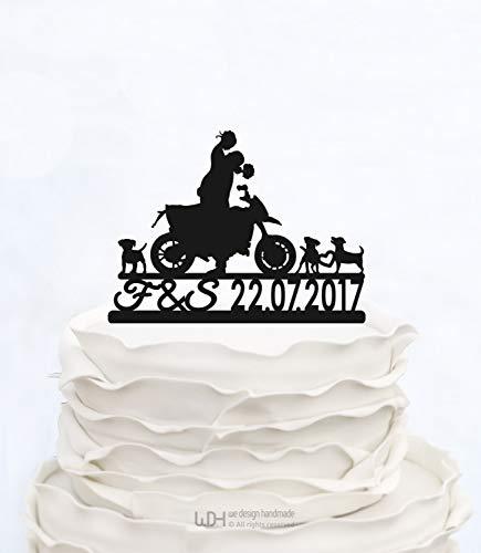 Andrea1Oliver Hochzeitstorte Topper mit Initialen Braut und Br?utigam auf Motorrad Silhouette benutzerdefinierte Cake Topper Paar auf Moto Cake Topper einzigartige Cake Topper