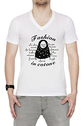 Fashion In Cotone Uomo V-Collo T-shirt Bianco Cotone Maniche Corte White Men's V-neck T-shirt