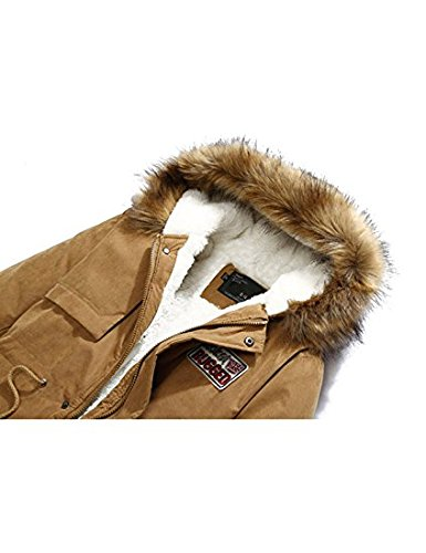RichDeer® Trenchcoat Winterjacke Outwear Kapuzen-Parka Wintermantel Khaki