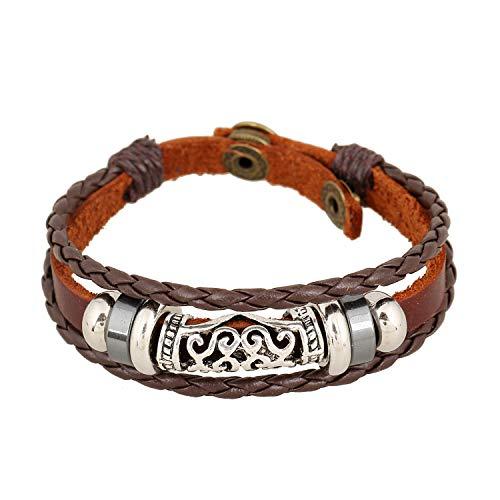 Styleziel Armband Herren Damen Lederarmband echt Leder Surfer Vintage Look Multiband Braun Ringe verstellbar 2334