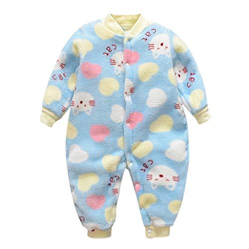 Livoral Baby Winterjacke Neugeborenes Weiche Pyjamas des warmen Overalls des neugeborenen Babybabykarikaturvlieses(B-Blau,3-6 Monate)