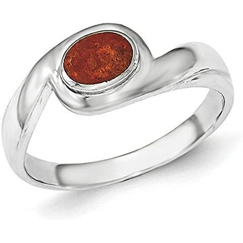 Argento Sterling lucido, con anello, in materiale sintetico con base in metallo e diaspro rosso, misura L 1/2 JewelryWeb