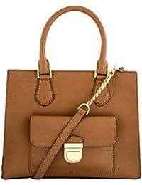 MICHAEL Michael Kors Women's Bridgette Medium Tote Leather Handbag (LUGGAGE)