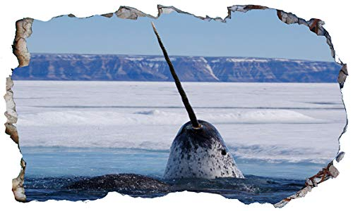 Chicbanners Narwhal Narwhale 3D Magic Window V101 - Adhesivo Decorativo para Pared (1000 mm de Ancho x 600 mm de Profundidad)
