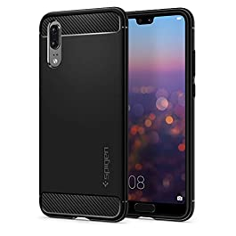 Spigen [Rugged Armor] Case Compatible for Huawei P20, Original Black Carbon Fiber Design Shock Absorption Air Cushion Technology Drop Protection Phone Cover for Huawei P20 Case
