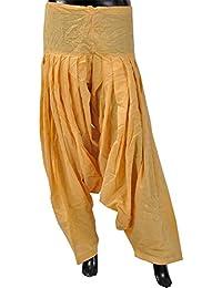Chhipa Women Hand block Gold Print Yellow Patiyala Salwar