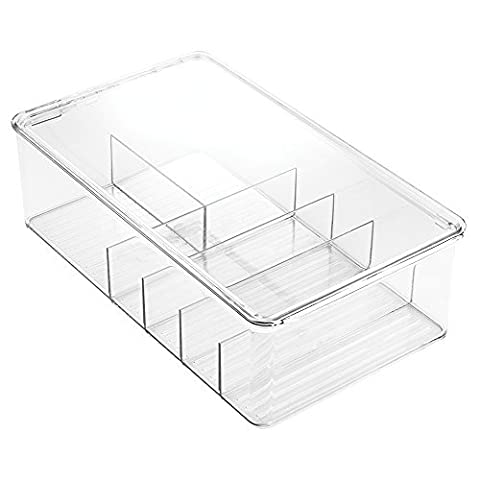InterDesign Clarity Bathroom Storage Box Organizer for Vitamins, Medicine, Medical, Dental Supplies - Divided, Clear by InterDesign